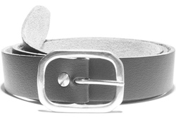 vegan belt with a 32mm nickel-plate Double-D buckle on a vegan leather strap