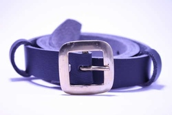 vegan belt, one inch microfibre strap, flat square brass buckle