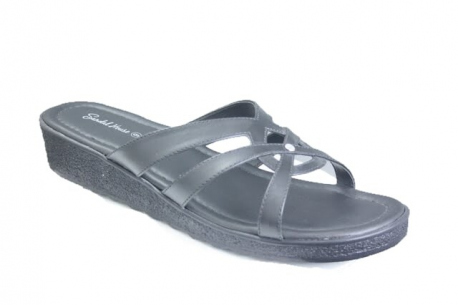 Womens vegan slide sandals made in the UK on a low wedge sole