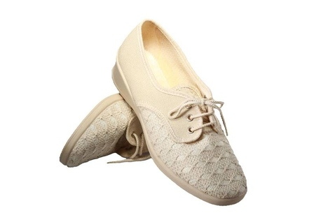 Vegan womens summer shoe with a brown lace-up cotton top