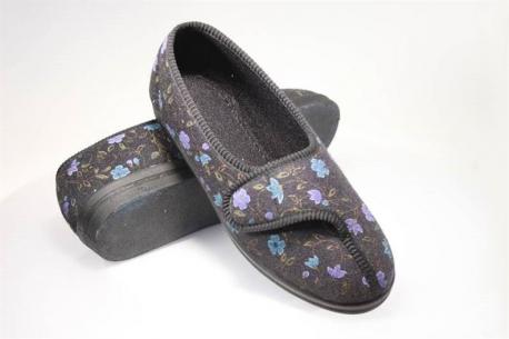 Cumfylux Slipper - Soft sole Diana velour velcro