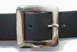 Vegan Belt 38mm flat square nickel plate buckle