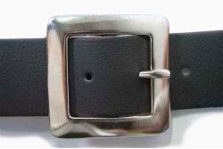 Vegan Belt 38mm flat square nickel plate buckle