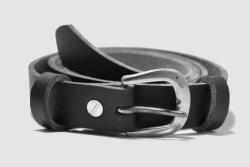 Vegan belt; nickel-plate D buckle, one inch vegan leather strap