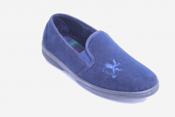 mens slipper, hard sole blue microfibre with an embroidered lion