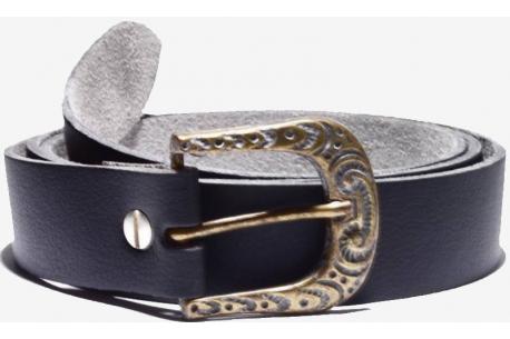Vegan belt, D goth bronze colour buckle, medium width 32mm strap