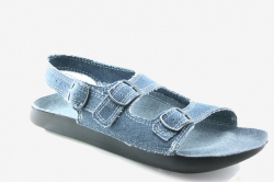 vegan womens sandals with a denim top and open toe, made in UK