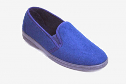 mens hard sole blue vegan velour slippers