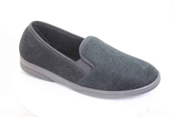 hard sole black velour mens' slipper