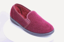 mens vegan slipper, hard sole red velour